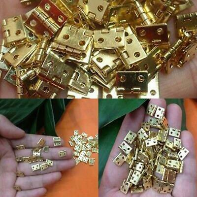 100pcs Mini Brass Plated Hinge 400 screws- Small Decorative Jewelry Hinges Parts