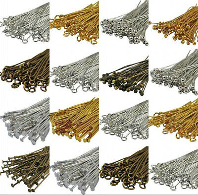 Wholesale Gold Silver Head/Eye/Ball Pins Finding 21/24 Gauge 100pcs 15mm-70mm