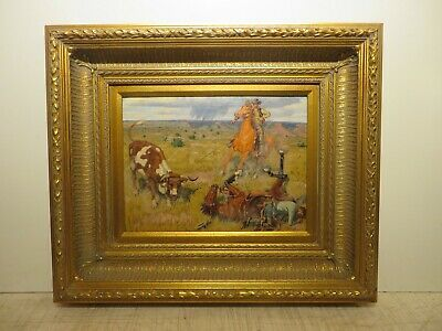 "12x16 org. 1940 oil painting by FRED DARGE ""In a Bad Fix"" Western Cowboy & Steer"