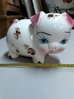 Vintage 60's if not earlier Mexican Painted Ceramic Piggy-Bank, HECHO EN MEXICO