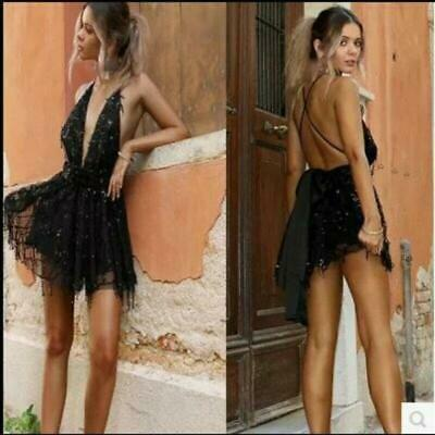 Womens Sexy Dresses Slim Fit Lace Night Club Party Deep V-neck Chic Skirts Hot