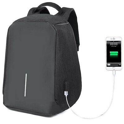 "Lenoxx Anti-Theft 15"" Laptop Backpack w/USB Port for PowerBank Charger Black"