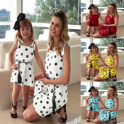 Family Dress Mother and Daughter Matching Girls Dots Outfits Clothes Dresses C