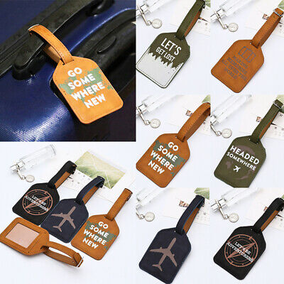 Luggage Tag Travel Suitcase Bag ID Tag Address Label Baggage Card Holder Leather