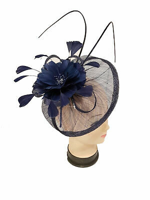 Sinamay Fascinator With Feathers And Quills On Headband and Clip