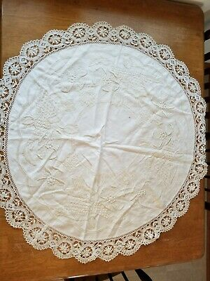 "Beautiful Vintage Arts & Crafts Style Table Topper~Hand Embroidered ~Round~39"" D"
