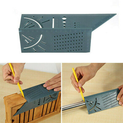 90 Degree 3D Mitre Square Angle Measuring Woodworking Tool w/ Gauge and Rulers