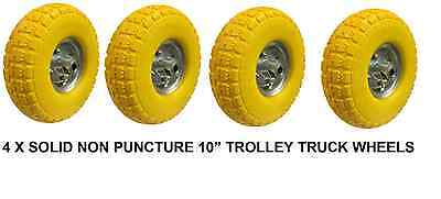 "4 x 10"" Puncture Burst Proof Solid Rubber Sack Truck Trolley Wheels Tyres NEW"