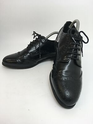 Mens Next Black Leather Lace Up Smart Formal Brogues Shoes Uk 7 Eu 41 Wide Fit