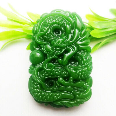 Chinese Old Natural Hand-carved Hetian Jade Pendant Lucky pendant -Dragon #2