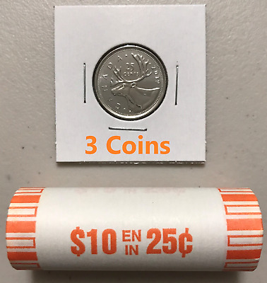 CANADA 2019 New 3x 25 cents ORIGINAL CARIBOU Circulation coin (UNC From roll)