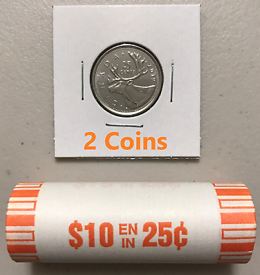 CANADA 2019 New 2x 25 cents ORIGINAL CARIBOU Circulation coin (UNC From roll)