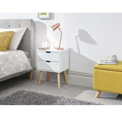 Norden Home Kiana 2 Drawer Bedside Table White Wood 56cm H x 40cm W x 30cm D