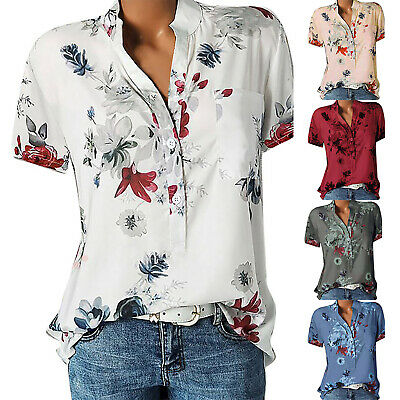 UK New Women Floral T Shirt Blouse Ladies Casual Tee Baggy Tops Plus Size 8-22