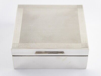 Superb Vintage Art Deco Style Solid Sterling Silver Cigarette Trinket Box 1967