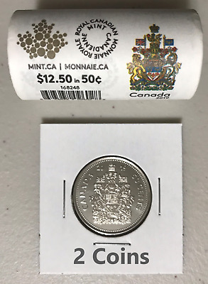 CANADA 2019 New 2x 50 cents Coat of Arms of CANADA (BU directly from mint roll)