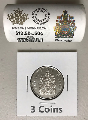 CANADA 2019 New 3x 50 cents Coat of Arms of CANADA (BU directly from mint roll)