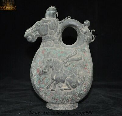 "7""Old Tibetan bronze Monkey Horse Mongolia Rider Mare's Milk Wine Tea Pot Flagon"