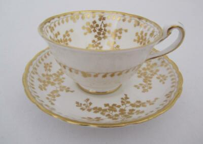 Rare NEW CHELSEA STAFFS Elegant Gold & White Cup & Saucer England