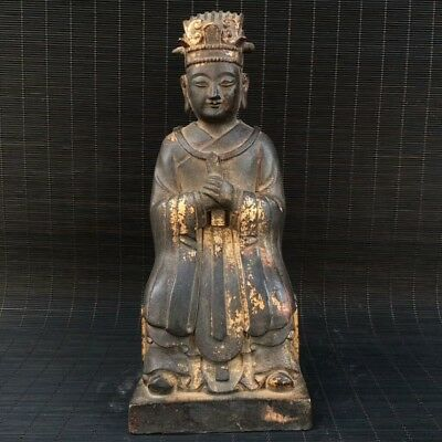 "10"" China old Antique bronze gilt handmade local god of the land Buddha statue"