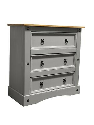 Corona Grey Wax Chest of Drawers 3 Drawers Solid Mexican Pine Wood