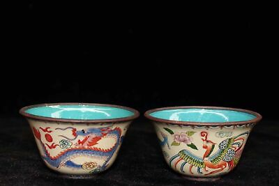 Chinese Cloisonne hand painted Dragon phoenix bowl Qianlong Year a pair