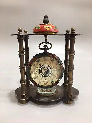 Chinese Old copper Gossip Zodiac Clock Pocket watch compass Home decoration