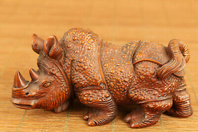 Asian old antique boxwood anger rhinoceros statue netsuke table home ornament
