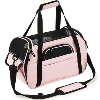 Dog Cat Carrier Travel Soft Sided Bags Lightweight Fabric Padded Wide...