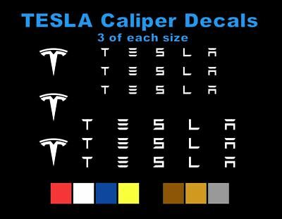 9 White TESLA Brake Caliper Vinyl Decals Stickers Heat Resistant FREE SHIPPING!