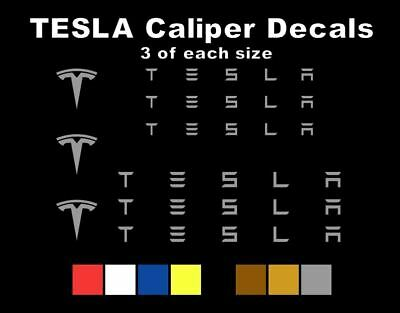 9 Silver TESLA Brake Caliper Vinyl Decals Stickers Heat Resistant FREE SHIPPING!