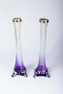 Antique Art Deco Sterling Silver Vase Mounted Pair of Posy Glass Vases 1931