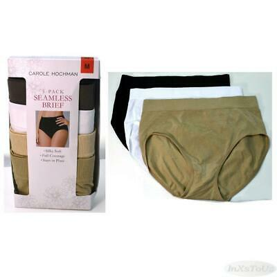 5 Pair Carole Hochman Womans Seamless Brief New Sz S-XL Neutral