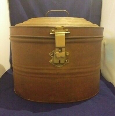 Antique Victorian Large Metal Tin Oval Hat Box With Handle & Clasp
