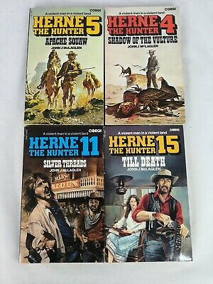 x4 paperback books: Herne the Hunter by John McLaglen numbers 4, 5, 11 and 15