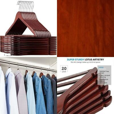 High Quality Wooden Hangers, (20 Pack) Premium Heavy Duty Coat Cherry
