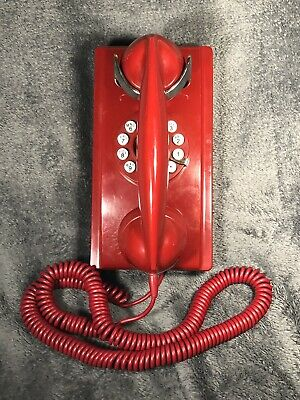 Crosley 1950/'s Classic Bell Designed Wall Phone Totally Functional In Red