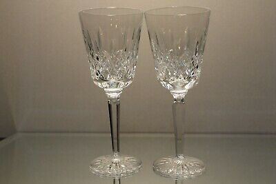 """Two (2) Waterford Crystal Lismore Tall Water Goblet - 8 1/4"""" Mint Signed"""