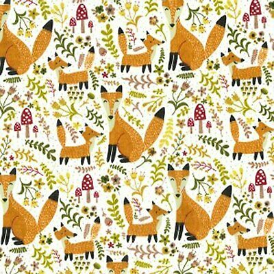 Fox Fabric Polycotton  Fabrics Material Crafting Home Decor Foxes Craft Foxes