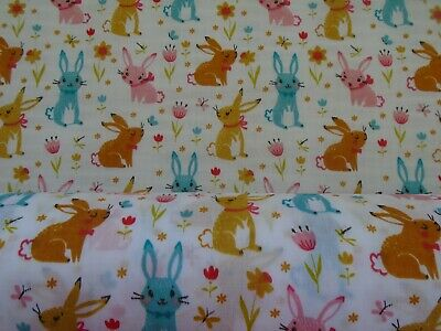 Rabbit Rabbits  Polycotton  Fabrics Material Crafting Home Decor Craft Pet Pets