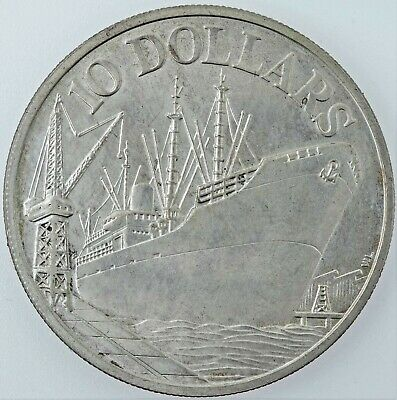 """Singapore SILVER coin 10 Dollars """" 10th Anniversary of Independence """" 1975"""