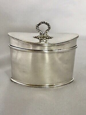 BEAUTIFUL SILVER TEA CADDY Birmingham c1932 Adie Bros. Sterling Canister Box