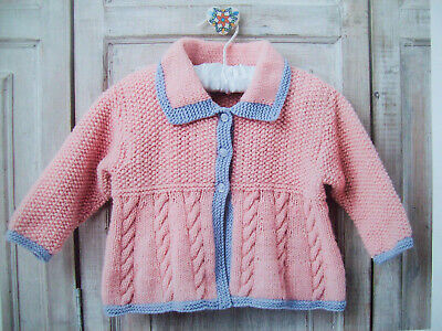 Baby Girls Boys CABLE CARDIGAN JUMPER KNITTING PATTERN DK 16-24 in 0-5  9525