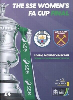 Manchester City v West Ham United 2018/19 Women's FA Cup Final new programme