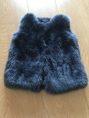 New Baby Girls Next Navy Fur Gilet 1.5-2 Years