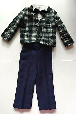 Vintage R-Gee Originals Green Plaid Blazer Suit Jacket Blue Pants 4pc Sz 3T