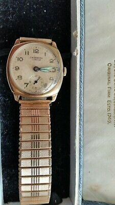 Gents Boxed 9ct Gold Watch From J W Benson, 1957, 15 jewels