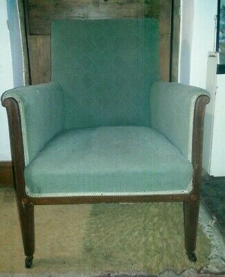 Antique Library Chair Armchair in Moss Green Moquette Upholstery