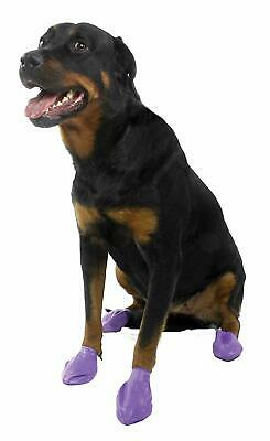 Protex Pawz Disposable or Reusable Rubber Waterproof Dog Boots - Purple Large