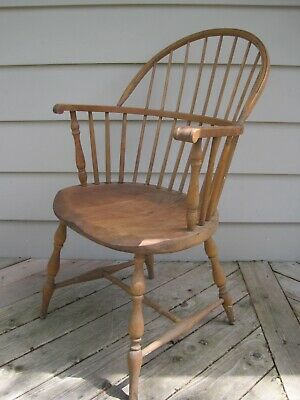 Antique Windsor Chair, Solid Maple Wood, Early 20th Century